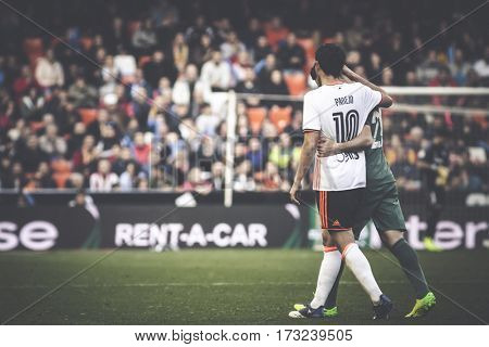 VALENCIA, SPAIN - FEBRUARY 19: (R) Aduriz injured during La Liga soccer match between Valencia CF and CD Athletic Club Bilbao at Mestalla Stadium on February 19, 2017 in Valencia, Spain