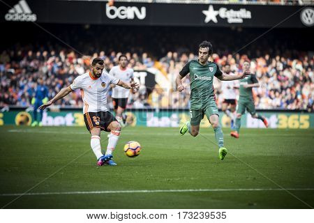 VALENCIA, SPAIN - FEBRUARY 19: Montoya with ball during La Liga soccer match between Valencia CF and CD Athletic Club Bilbao at Mestalla Stadium on February 19, 2017 in Valencia, Spain