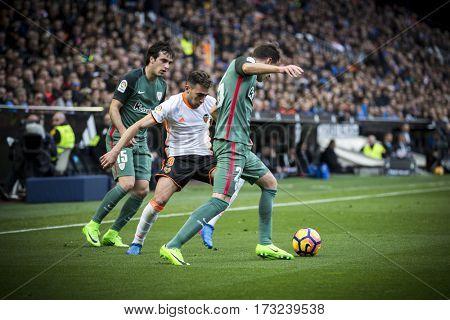 VALENCIA, SPAIN - FEBRUARY 19: Saborit with ball during La Liga soccer match between Valencia CF and CD Athletic Club Bilbao at Mestalla Stadium on February 19, 2017 in Valencia, Spain