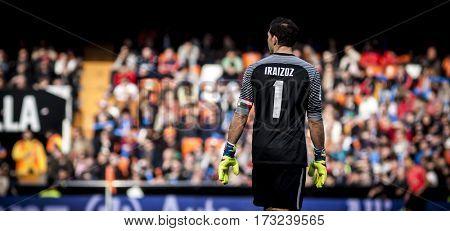 VALENCIA, SPAIN - FEBRUARY 19: Gorka Iraizoz during La Liga soccer match between Valencia CF and CD Athletic Club Bilbao at Mestalla Stadium on February 19, 2017 in Valencia, Spain