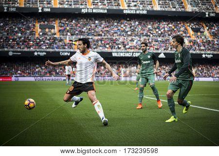 VALENCIA, SPAIN - FEBRUARY 19: Parejo with ball during La Liga soccer match between Valencia CF and CD Athletic Club Bilbao at Mestalla Stadium on February 19, 2017 in Valencia, Spain