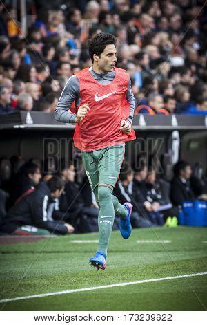 VALENCIA, SPAIN - FEBRUARY 19: Xavier Etxeita during La Liga soccer match between Valencia CF and CD Athletic Club Bilbao at Mestalla Stadium on February 19, 2017 in Valencia, Spain