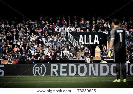 VALENCIA, SPAIN - FEBRUARY 19: Spectators during La Liga soccer match between Valencia CF and CD Athletic Club Bilbao at Mestalla Stadium on February 19, 2017 in Valencia, Spain