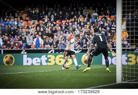 VALENCIA, SPAIN - FEBRUARY 19: Orellana with ball during La Liga soccer match between Valencia CF and CD Athletic Club Bilbao at Mestalla Stadium on February 19, 2017 in Valencia, Spain