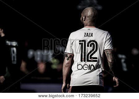 VALENCIA, SPAIN - FEBRUARY 19: Simone Zaza during La Liga soccer match between Valencia CF and CD Athletic Club Bilbao at Mestalla Stadium on February 19, 2017 in Valencia, Spain