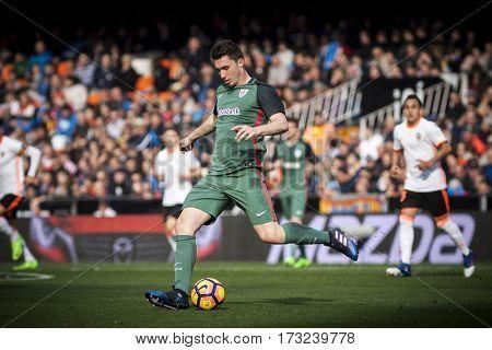 VALENCIA, SPAIN - FEBRUARY 19: Aymeric Laporte during La Liga soccer match between Valencia CF and CD Athletic Club Bilbao at Mestalla Stadium on February 19, 2017 in Valencia, Spain