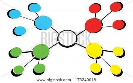Colorful business structure on a white background. Leadership and corporate hierarchy concept. Team management