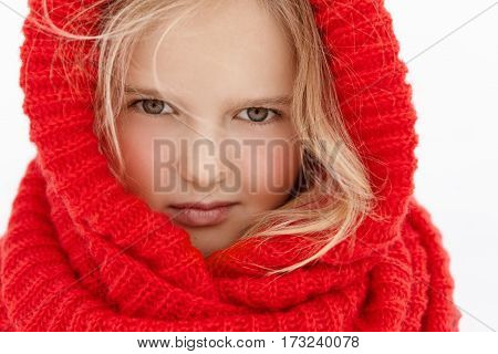 Highly-detailed Close-up Outdoor Shot Of Beautiful Caucasian Little Girl With Blonde Hair, Rosy Chee