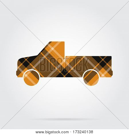 orange black isolated tartan icon with white stripes - pickup with a flatbed and shadow in front of a gray background