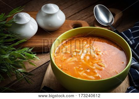 Homemade Tomato Soup With Noodles.