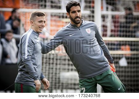 VALENCIA, SPAIN - FEBRUARY 19: (L) Muniain, (R) Garcia during La Liga soccer match between Valencia CF and CD Athletic Club Bilbao at Mestalla Stadium on February 19, 2017 in Valencia, Spain