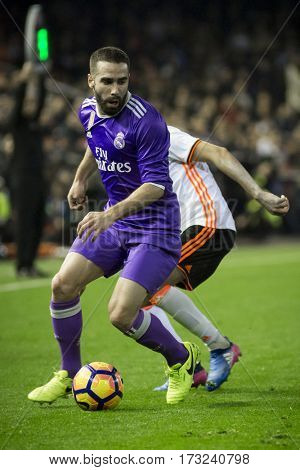 VALENCIA, SPAIN - FEBRUARY 22: Catvajal with ball during La Liga soccer match between Valencia CF and Real Madrid at Mestalla Stadium on February 22, 2017 in Valencia, Spain
