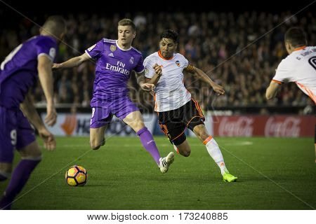 VALENCIA, SPAIN - FEBRUARY 22: Toni Kroos with ball during La Liga soccer match between Valencia CF and Real Madrid at Mestalla Stadium on February 22, 2017 in Valencia, Spain