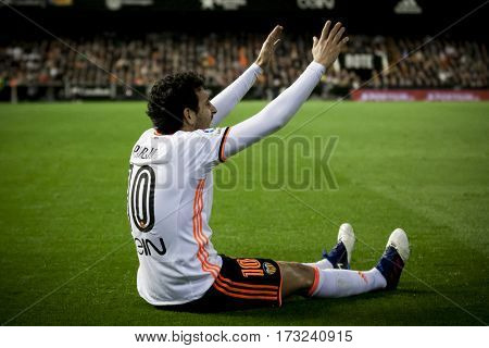 VALENCIA, SPAIN - FEBRUARY 22: Daniel Parejo during La Liga soccer match between Valencia CF and Real Madrid at Mestalla Stadium on February 22, 2017 in Valencia, Spain