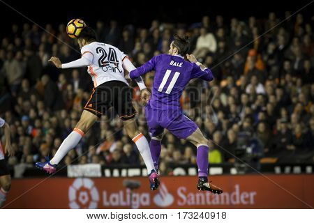 VALENCIA, SPAIN - FEBRUARY 22: Garay with ball during La Liga soccer match between Valencia CF and Real Madrid at Mestalla Stadium on February 22, 2017 in Valencia, Spain