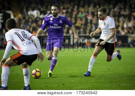 VALENCIA, SPAIN - FEBRUARY 22: Carvajal with ball during La Liga soccer match between Valencia CF and Real Madrid at Mestalla Stadium on February 22, 2017 in Valencia, Spain