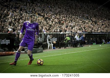 VALENCIA, SPAIN - FEBRUARY 22: Gareth Bale during La Liga soccer match between Valencia CF and Real Madrid at Mestalla Stadium on February 22, 2017 in Valencia, Spain