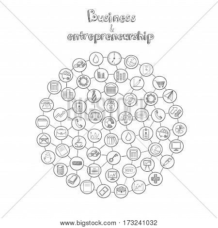 Entrepreneurship infographic hand drawn concept with business and economic elements in connected circle shape isolated vector illustration