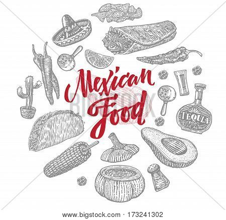 Sketch mexican food objects set with traditional elements of national cuisine and culture isolated vector illustration