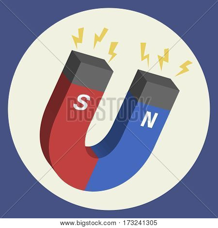Red and blue horseshoe magnet vector icon