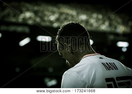 VALENCIA, SPAIN - FEBRUARY 22: Nani injured during La Liga soccer match between Valencia CF and Real Madrid at Mestalla Stadium on February 22, 2017 in Valencia, Spain