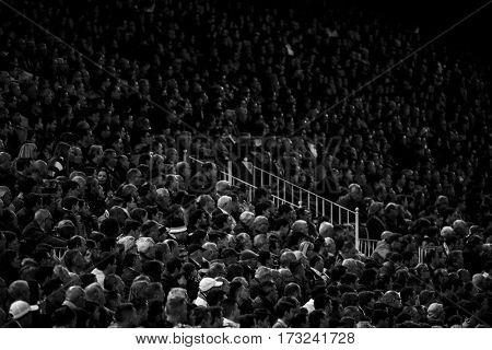 VALENCIA, SPAIN - FEBRUARY 22: Spectators during La Liga soccer match between Valencia CF and Real Madrid at Mestalla Stadium on February 22, 2017 in Valencia, Spain