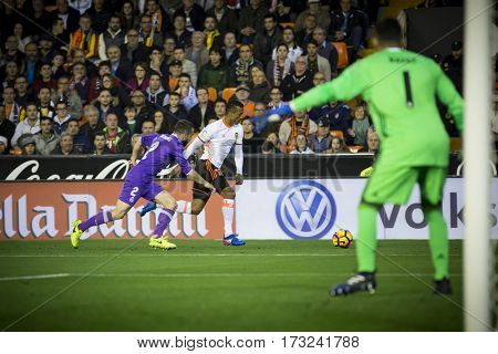VALENCIA, SPAIN - FEBRUARY 22: (C) Nani during La Liga soccer match between Valencia CF and Real Madrid at Mestalla Stadium on February 22, 2017 in Valencia, Spain
