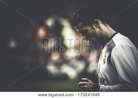 VALENCIA, SPAIN - FEBRUARY 22: Cristiano Ronaldo during La Liga soccer match between Valencia CF and Real Madrid at Mestalla Stadium on February 22, 2017 in Valencia, Spain
