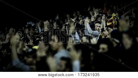 VALENCIA, SPAIN - FEBRUARY 22: Valencia CF supporters during La Liga soccer match between Valencia CF and Real Madrid at Mestalla Stadium on February 22, 2017 in Valencia, Spain