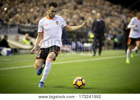 VALENCIA, SPAIN - FEBRUARY 22: Munir El Haddadi during La Liga soccer match between Valencia CF and Real Madrid at Mestalla Stadium on February 22, 2017 in Valencia, Spain