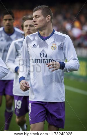 VALENCIA, SPAIN - FEBRUARY 22: Toni Kroos during La Liga soccer match between Valencia CF and Real Madrid at Mestalla Stadium on February 22, 2017 in Valencia, Spain