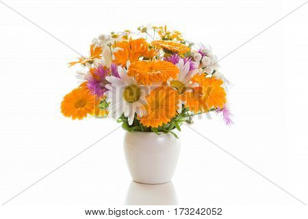 Bouquet of daisies, cornflowers, calendula in a white vase on a white background.