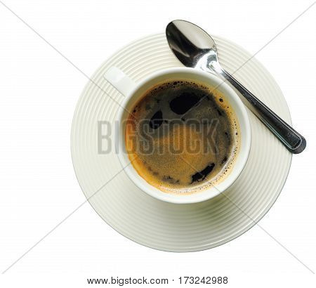 Top view of black coffee in a white cup and spoon isolated on white background clipping path.