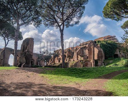 Palatine hill in Forum Romanum Rome Italy