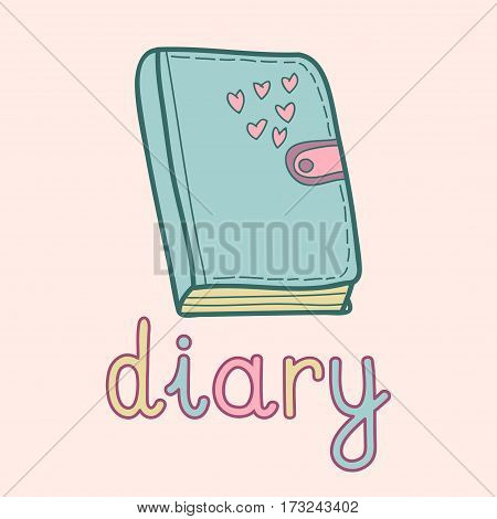 Vector illustration of cute diary. Pupil, student notebook