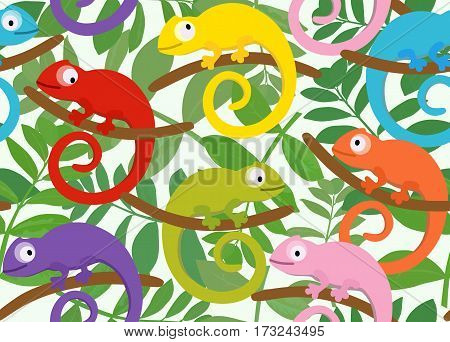 Colored set of funny chameleon on a background of leaves. Suitable for children's playrooms, wallpaper, textile.
