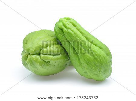 fresh chayote isolated on the white background