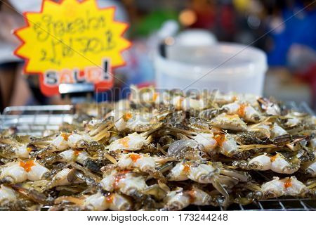 Egg crabs on tray in seafood market Thailand