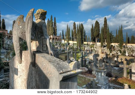 The stone angel sitting on the tomb looks an expanse of crosses at the cemetery