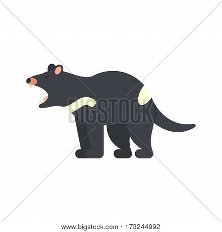 Vector flat style illustration of tasmanian devil. Icon for web. Isolated on white background.