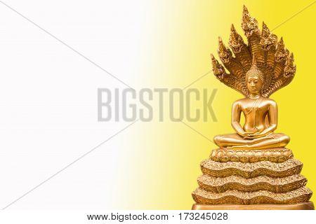 Golden Nak Prok Buddha isolated white and black background