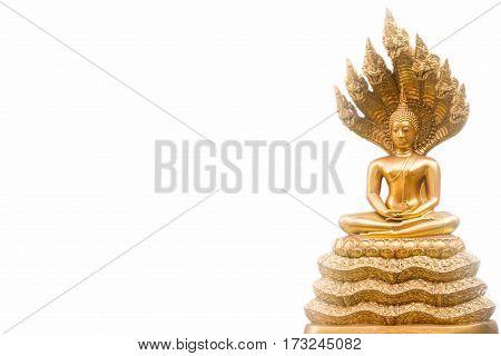 Golden Nak Prok Buddha isolated white background