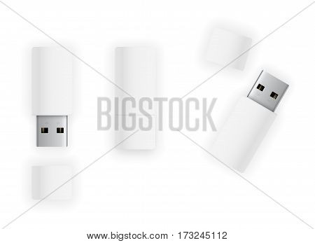 USB 3.0 white colored pen drive flash disk. Vector illustration top view