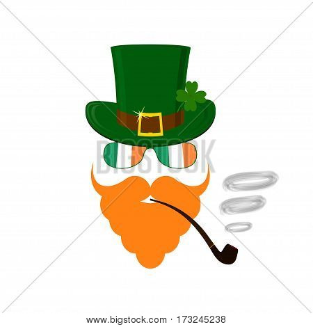 Vector modern flat design icon on Saint Patrick's Day character leprechaun with green hat red beard smoking pipe and no face.