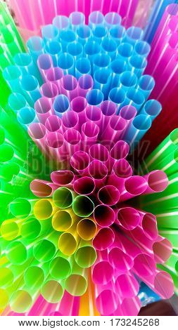 Multi Color flexible straws and color background