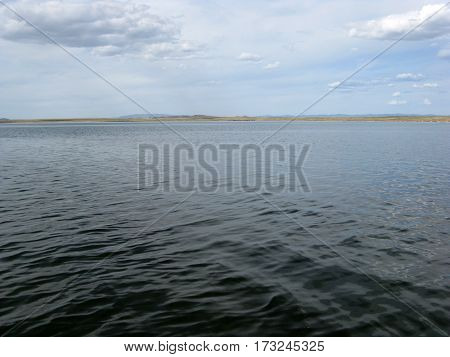 deserted beach lake, summer sky, nature blue cloud, Tuva