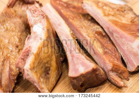 Raw Smoked Ribs Closeup Macro