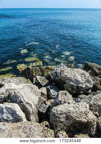 Mediterranean Cyprus Ayia Napa. Clear water and a stone beach.