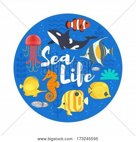Vector flat style illustration of coralreef, fish and sea life. Icon for web. Isolated on white background.