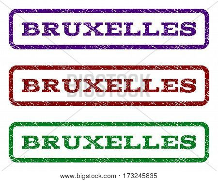 Bruxelles watermark stamp. Text caption inside rounded rectangle frame with grunge design style. Vector variants are indigo blue red green ink colors. Rubber seal stamp with unclean texture.